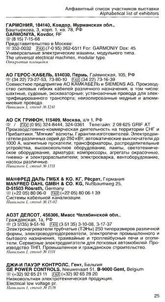 Список участников международной выставки Электро-96